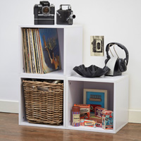Handbridge Storage Cube with Rattan Basket - Set 1