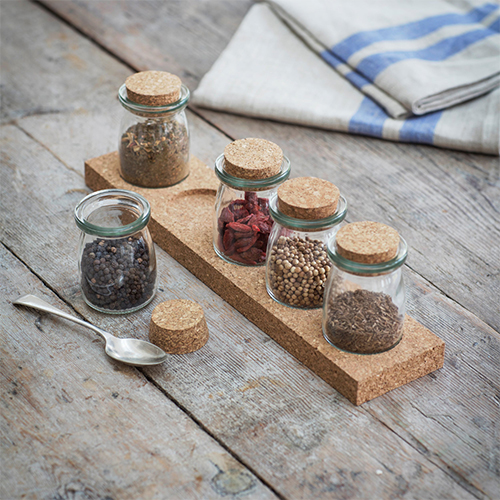 5 Jar Spice Rack & Cork Base