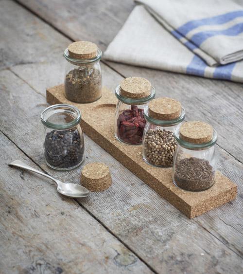 5 jar cork spice rack