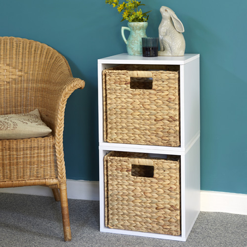 White wood modular storage cubes with water hyacinth baskets
