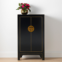 The Nine Schools Qing Black and Gilt Cabinet - Medium