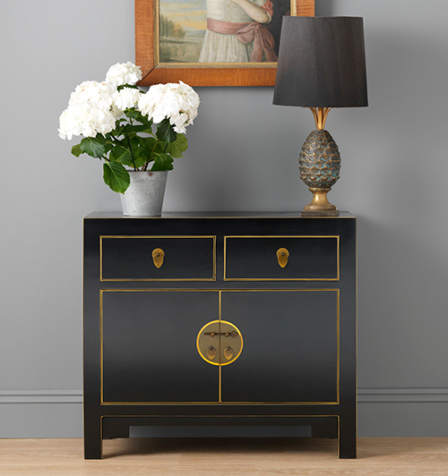 Small sideboard - Nine Schools Qing Black and Gilt