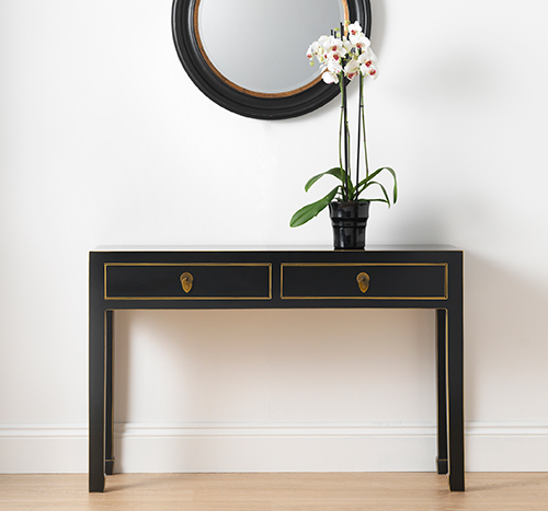 The Nine Schools Qing Black and Gilt Console Table - Large