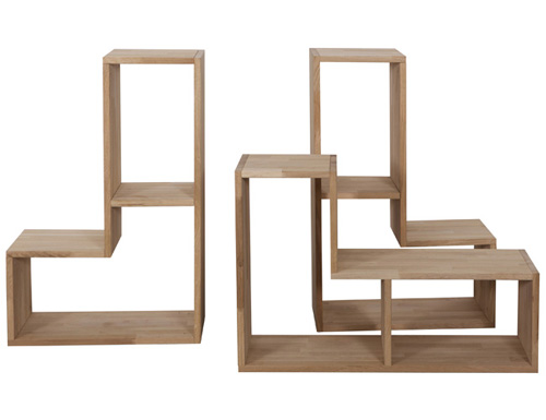 3x oak tetris stacking shelves