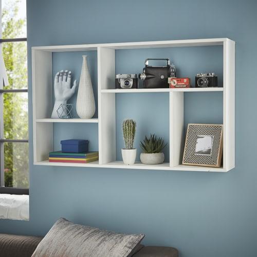 Crisp white slimline bookshelf