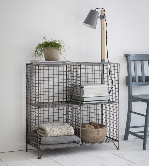 Wirework mesh square shelving unit