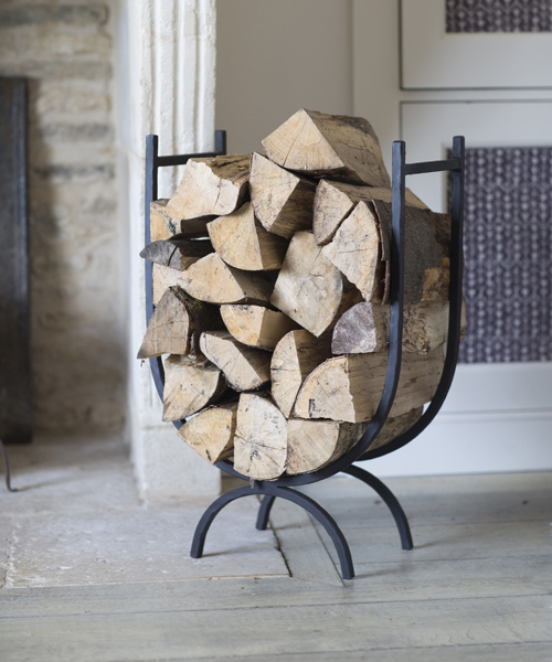 Large wrought iron log holder