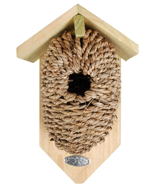 Pine wood and seagrass bird box