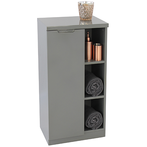 Grey or white compact high-gloss bathroom storage cabinet