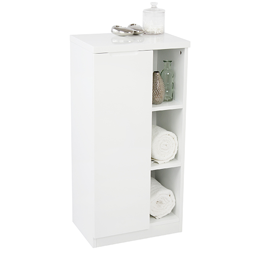 Minimalist grey or white high-gloss bathroom cabinet