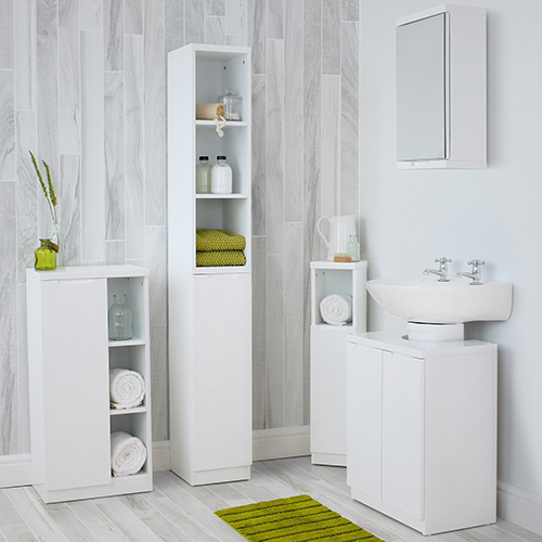 Sleek compact gloss bathroom complete set in white