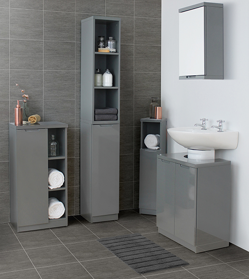 high gloss grey or white corner bathroom storage cabinet