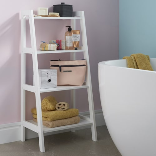 White 4 tier shelf wooden ladder storage shelf