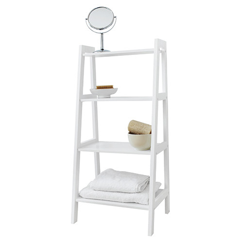 White 4 tier tapered shelf unit