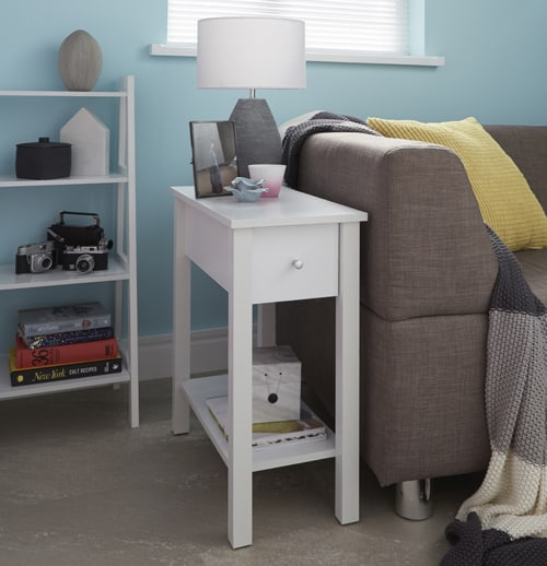 White Wood Sofa Side-Table