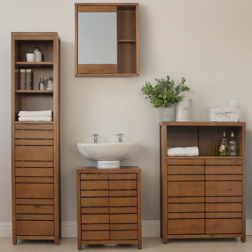 Complete dark wood bathroom furniture set