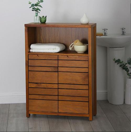Dark wood bathroom storage cabinet