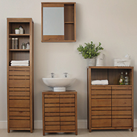 Dark Wood Chiltern Bathroom Storage Furniture - Complete Set