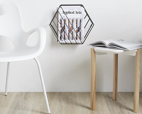 magazine rack in gunmetal grey
