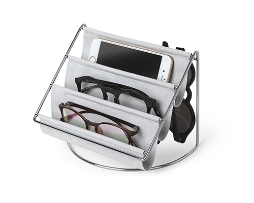 grey suede glasses hammock and accessory organiser