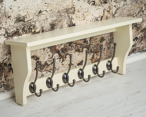 6-Hook Traditional Coat Rack with Shelf