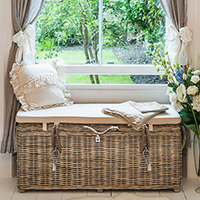 Rattan Storage Bench with Cushion