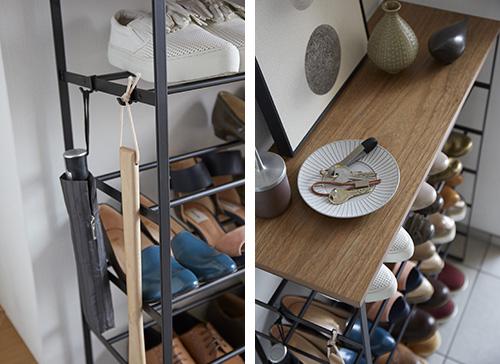 slimline shoe storage rack in white and wood