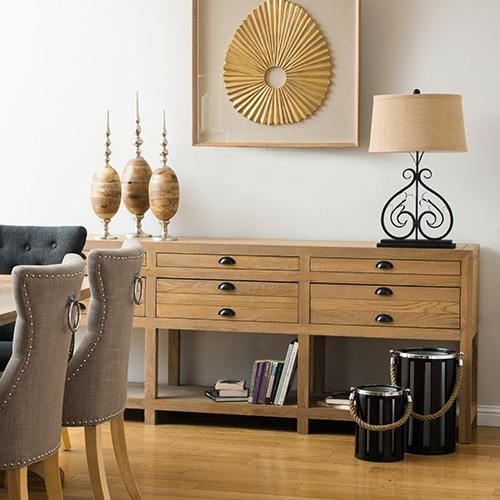 6 drawer 3 shelf solid oak wood sideboard