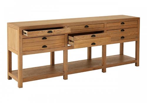 solid oak wood sideboard - 6 drawers 3 shelves
