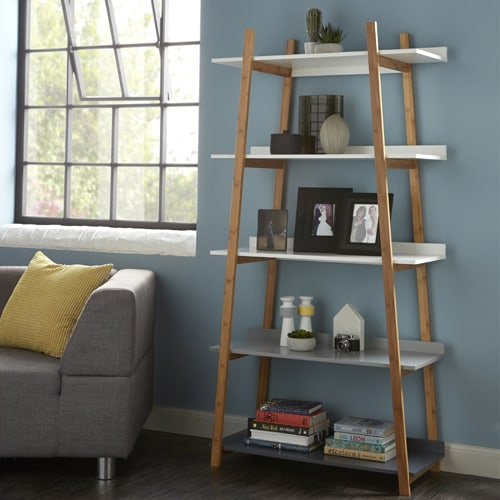 bamboo 5 tier tapered shelf unit
