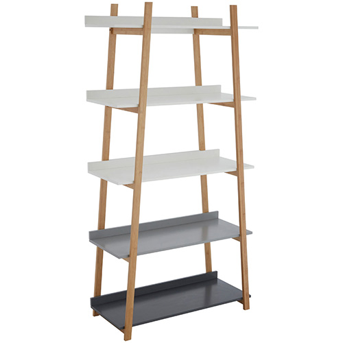 bamboo 5 tier shelf ladder in white to black gradient