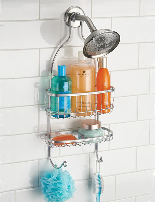 shower caddy in silver or white