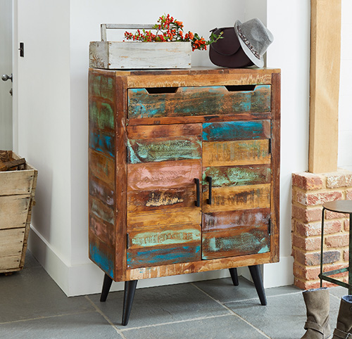 Shoe storage cupboard crafted from reclaimed wood - Coastal Chic