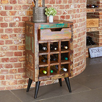 Wine Rack Lamp Table - Coastal Chic