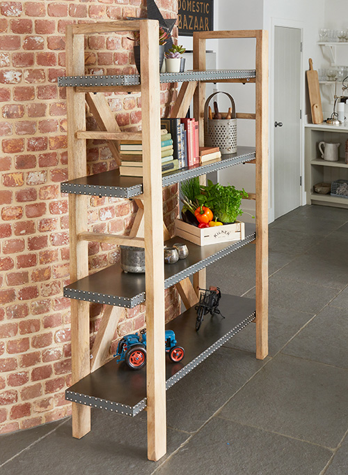 Acacia hardwood and zinc shelving unit - Kuba