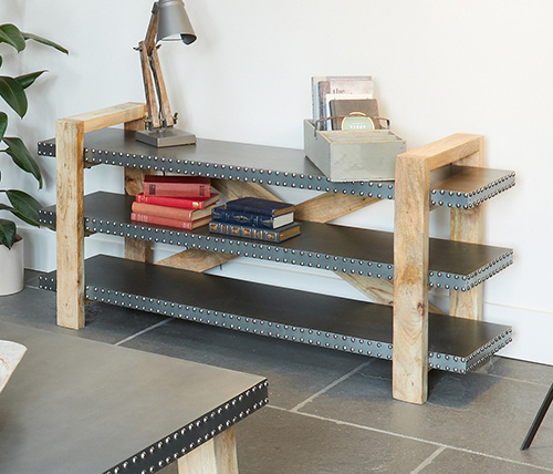 Low bookcase crafted from Acacia wood and Zinc - Kuba