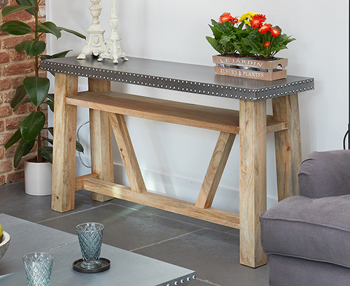 Acacia hardwood and zinc console table - Kuba