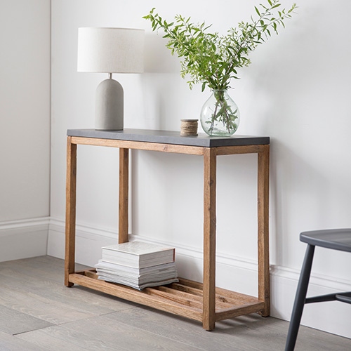 Acacia wood and cement fibre console table