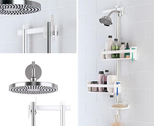 White and aluminium storage shower caddy