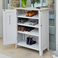 Grey Wood Shoe Storage Cabinet - Signature