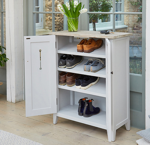 Grey Wood Shoe Storage Cabinet Signature