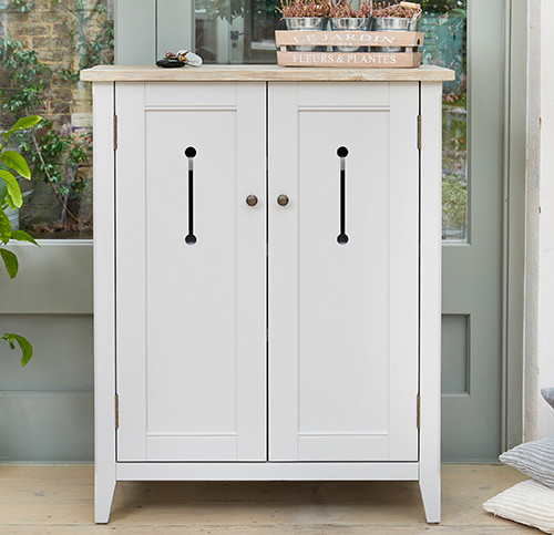 Grey painted wooden shoe storage cabinet - Signature grey