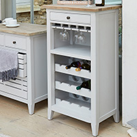 Grey Wood Wine & Glass Storage Cabinet - Signture