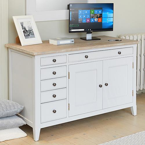 Grey painted wood hidden home office - Signature grey range