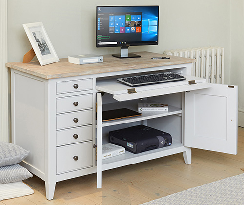 Grey painted wood hidden home office - Signature grey range