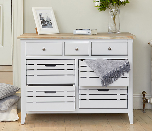 Grey painted wood sideboard with storage crates - Signature Grey range