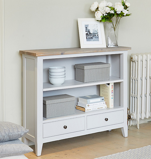 Grey painted wood low bookcase with storage drawers - Signature Grey range
