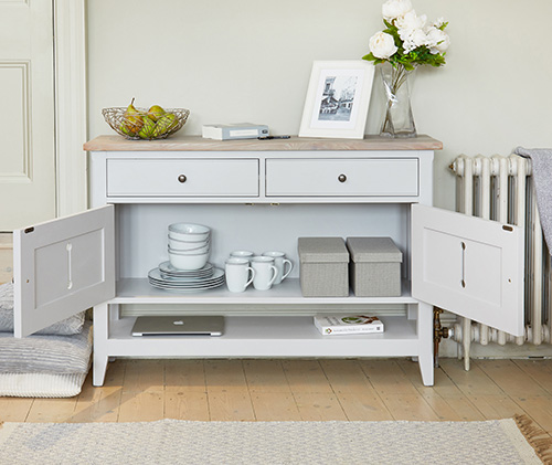 Grey painted wooden console storage table - Signature Grey range