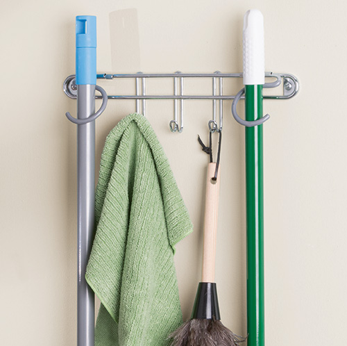 Wall mounted, mop, brush and broom holder