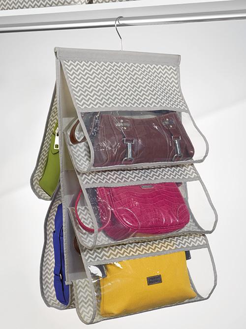 Hanging handbag organiser with 5 pockets